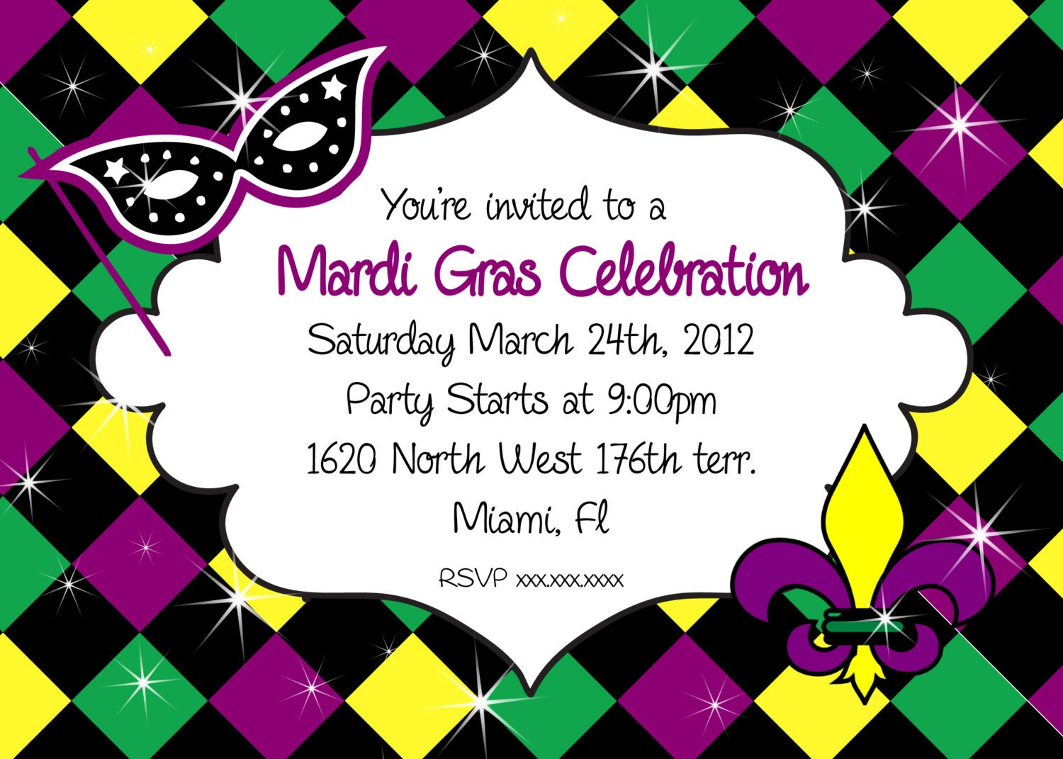 Mardi Gras Invitation Party Printable Invitation Mardi Gras