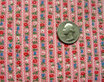 Vintage  FEEDSACK  Novelty Fabric - Teeny Tiny Rows of Sweet Teeny Tiny Flowers  on Pink Background  - 33 x 44 * 4  Available