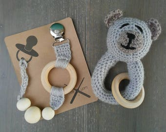 Gift set pacifier clip & teddy bear rattle teething toy   baby shower gift unisex   crochet gray w/ wooden rings and beads   READY TO SHIP