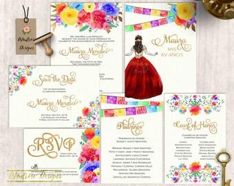 Watercolor Fiesta Quinceañera Invitation, Quinceanera Invitation, Invitacion de Quinceañera, Gold Type, Watercolor Floral DIGITAL FILE