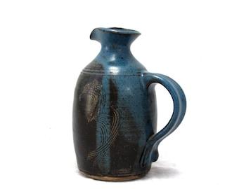 Vintage Studio Pottery Handled Jug Ceramic Art Signed Pekoz - Art Pottery - Sgraffito - Fine Art Ceramics - Pottery Vase