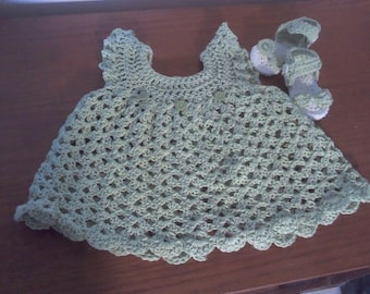 Hand crochet baby pinafore with matching sandals