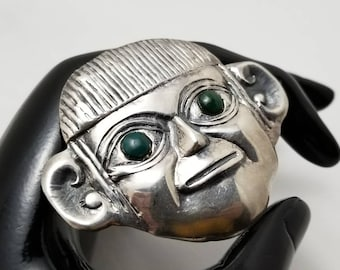 Sterling And Stone Face Pin/Pendant