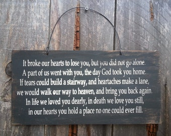 memorial sign, memorial gift, condolences, heaven decor, Because Someone We Love Heaven Sign, In Memory, Grief, Bereavement Sign, 115/270