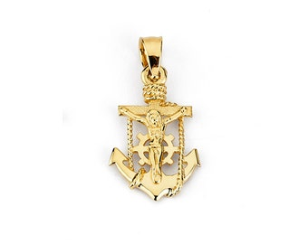 14k two tone solid gold mariners cross crucifix anchor 14k mariners cross 14k anchor 14k crucifix gold cross gold anchor gold crucifix cross jewelry crucifix pendant anchor pendant aloadofball