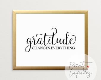 Gratitude, Printable Art, Typography Print, Home Wall Art, Home Decor, Typography Wall Art, Wall Art, Home Sign, Wall Decor, Printable