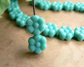 Turquoise Czech Glass Daisy Flower Beads Green Opaque 6 Petal 8mm (25)