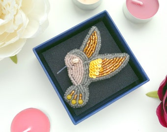 Handmade Embroidery Hummingbird Brooch