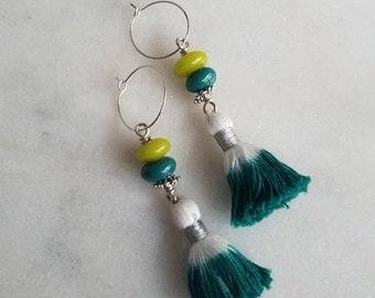 destash Teal Green Tassel Earrings, Chartreuse Green  Gold Brass Dangles