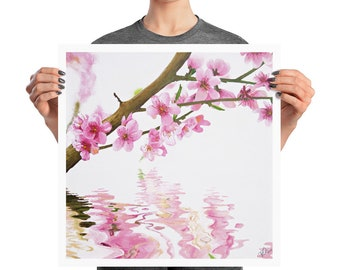 Pink Cherry Blossom Tree Over Water Nature Art Wall Art gift Asian art home decor, Digital Print - Blush - by TWAdair Art