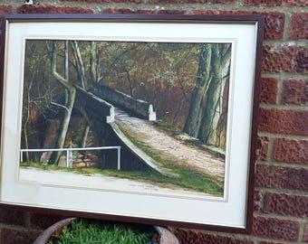 Vintage Original Watercolour Beggars Bridge Glaisdale 1983