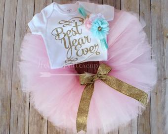 Gold first birthday tutu outfit, Gold glitter One bodysuit, Girls first birthday outfit, Pink birthday tutu, Cake Smash outfit, Blush pink