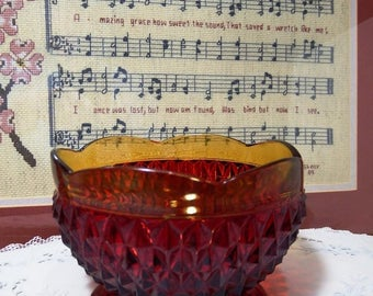 Vintage 1960s Amberdina, Three Footed Bowl, Ruby Diamond Point, Amber Rim, Indiana Glass