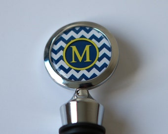 Personalized Wine Stopper, Monogram Wine Stopper, Navy Blue Wedding Wine Stopper,Navy blue wedding favors, Navy Blue Chevron, Custom Colors