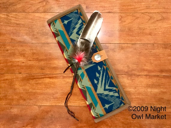 Feather Holder / Feather Case XL Wool Deep Blue & Light Turquoise Star