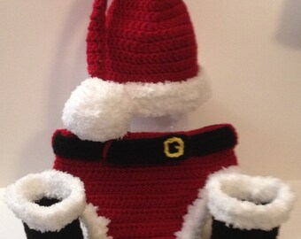 Cute Santa Outfit - Hat, Boots and Diaper cover - Great Photo Prop