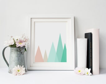 Mint and Coral Mountains, Geometric Triangle Art, Geometric Mountain Print, Mint Mountains, Coral Mountains, Coral and Mint Wall Print