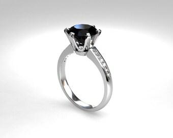 Black Spinel engagement ring, white gold, rose gold, yellow gold, spinel, black engagement, solitaire, gothic, unique diamond engagement,