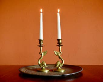 Brass Dolphin Fish Candlesticks, Sea Serpent Dragon Candle Holders, Boho Hollywood Regency Decor