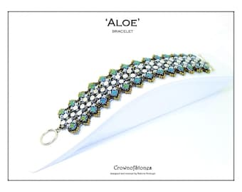 Bead pattern DIY Aloe bracelet with Pellet or Diabolo beads, Silky beads, O beads, seed beads