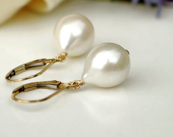 Teardrop Pearl Earrings | Large Ivory White Freshwater Drop Pearls | 14k Gold Filled Leverback Dangles | Mother's Day Gift | Ready to Ship