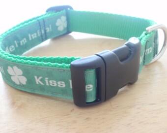 Kiss Me I'm Irish Dog Collar / Irish Pride Shamrocks