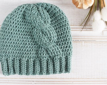 Big Twist, Crochet Cable Beanie, Women's  Hat, Sea Green, Blue Green, Aqua, Seafoam, Blue Crochet Hat, Ready to Ship