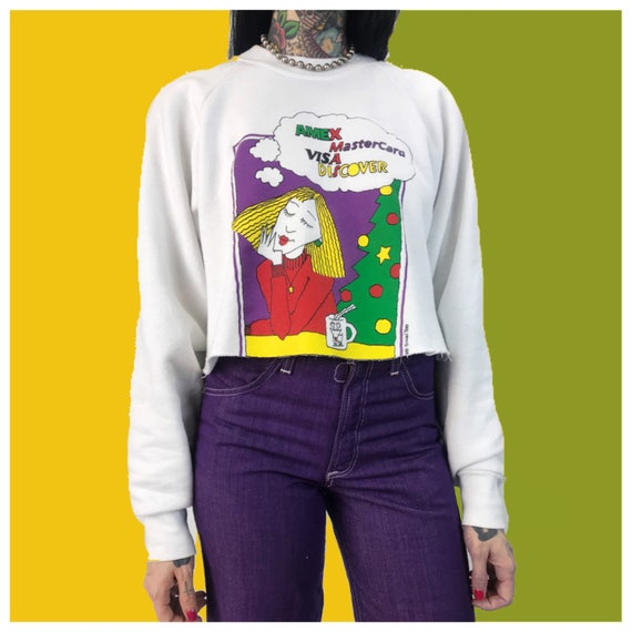 90's Shopaholic Credit Card Big Spender Cropped Sweatshirt Medium - Funny Humor Daydreaming Graphic Cartoon Sweater White Pullover Jumper