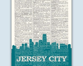 Jersey City Skyline, Jersey City Poster, Jersey City Decor, Jersey City Print, Jersey City Gift, New Jersey Decor, Engagement Gift