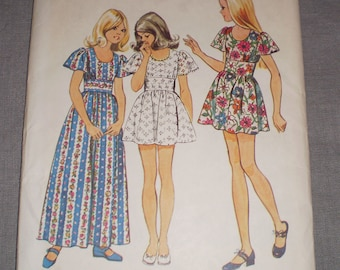 Vintage 1973 Simplicity Pattern #5538 Girl's Dress in 2 Lengths Size 10 girls