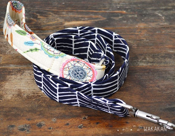 Leash for dog Dreamcatcher. Handmade with 100% cotton fabric and webbing. Feathers. Wakakan