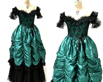 Vintage 80s Prom Dress XXS XS Metallic Green Black// 80s Metallic Party Dress Green Black Lace Southern Bell Pageant Loralie