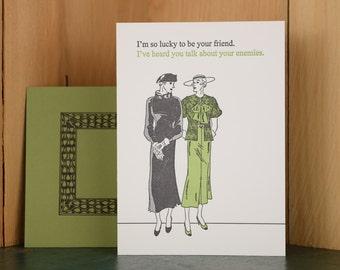 Friend - letterpress friendship card