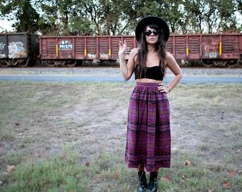 Vintage Purple Pattern High Waisted Skirt