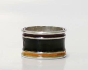 Cloisonne enamel silver ring