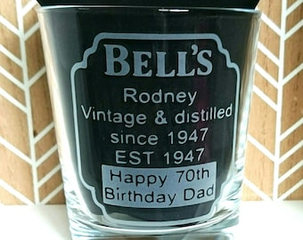Engraved Whiskey Tumbler Glass - New - Personalised - Birthday