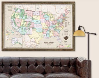 Push Pin Map Custom Push Pin Travel Map USA Push Pin Travel Map United States Large Push Pin Travel Map Canvas Push Pin Travel Map Framed