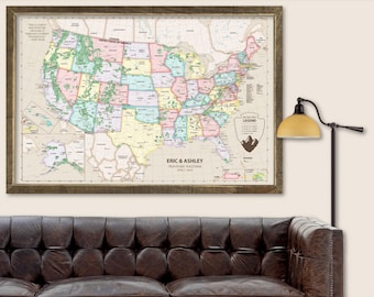 Push Pin Map USA Push Pin Travel Map USA Travel Map Push Pin USA Travel Gift for Wedding Travel Gift for Husband Travel Gift for Wife Map