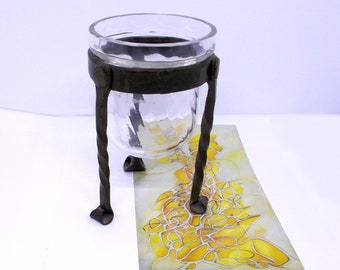 Twist Ribbed Glass Candle Holder With Hand Forged Black Metal Stand