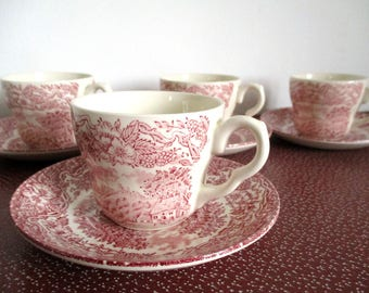 Vintage Tea Cups, Cups And Saucers Set, Vintage Tea Set, China Teacups, Pink And White China, Toile De Jouy,