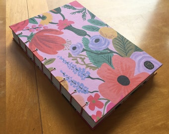 Bright Floral Sketchbook // Handmade Journal // Bright Pinks and Blues // Coptic Stitch // Blank Book // Hardcover // Spring Flowers