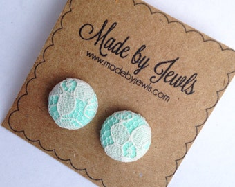 Mint Green and White Ivory Lace Handmade Fabric Covered Hypoallergenic Button Post Stud Earrings 10mm