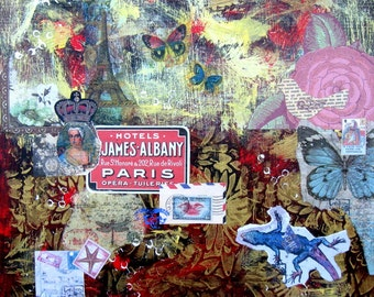 """Red Abstract Mixed Media original painting on canvas, 18"""" x 18"""", Collage, Butterflies, Dragon fly, French Country Decor, Wall Art"""