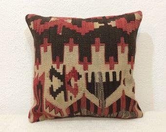"Kilim pillow 14""x14"" 35x35cm, kilim cushion cover, Kelim pillow,faded red,handmade,old kilim,home decor,interior,Turkey"