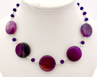 Purple Beaded Necklace, Purple Agate Necklace, Semi Precious Natural Stone Necklace, Banded Agate Gemstones, Birthday Gift, Valentines Gift