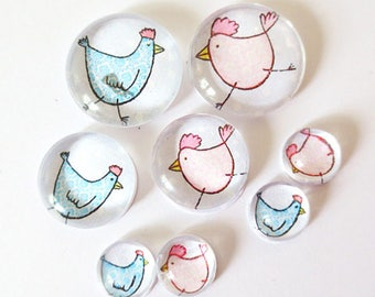 "Lot 8 ""SO CUTE - chicks"" (craftsmanship) theme cabochons 12mm / 20mm / 25mm"
