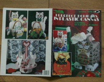 vintage 1992 Plastic Canvas patterns Purrfect Holidays cat projects valentine carousel,christmas tissue box cover,baskets, halloween tote