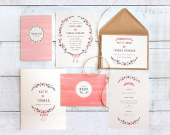 Printed Wedding Stationery Set 'Bows & Blooms'