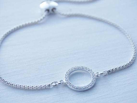 Circle Bracelet With Heart Slider Clasp, Cubic Zirconia, Sterling Silver