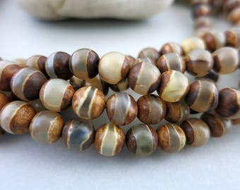 Tibetan Agate Stripe Beads, 6mm Dzi Beads, 12 Natural Stone Beads, Ready To Ship